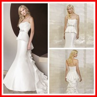 Crystal Waistband Lovely Fit And Flare Wedding Dress Trumpet bridal Gown With Detachable peplum included taffeta Ruffled