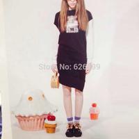 2014 Autumn Women Sweet Dress Long Sleeve With Lace Patchwork Girl Print Pattern Oblique Bottom Dress B0310