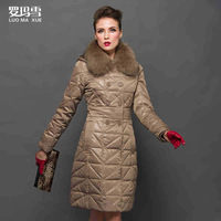 2014 Hot Winter Thicken Warm Women Down jacket Raccoon Fur collar Coats Outerwear Parka Long Hooded Luxury Cold Plus Size 4XXXXL