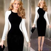 2014 New Women Autumn Black White Long Sleeve Office Dress Work Wear Sexy Waisted Pencil Vintage Dresses Bodycon Slim Dress