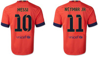 New 14 15 Club away orange soccer jersey #10 MESSI A++++ top thai quality sport shirt #11 NEYMAR JR football jersey for men wear
