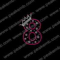 Wholesale Free Dhl Shipping 50Pcs/Lot Number Eight Hotfix Rhinestone Transfer Designs For Ts Dressing
