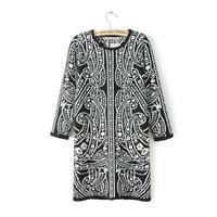 2014 Autumn New Women Vintage Baroque Prints Full Sleeves O-Neck Tight Straight Mini Cotton Dresses with Zipper 5007304104
