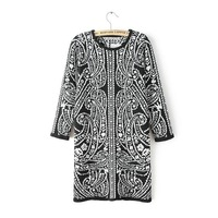 Women vintage knitting cotton baroque floral prints o-neck full sleeves regular above knee straight dress 220721