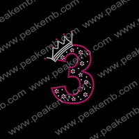Free Dhl Shipping 50Pcs/Lot Arabic Number Three Rhinestone Custom Bling Transfers Stones For Clothes Decoration
