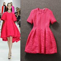 Top Grade New Fashion Runway Winter Dress 2014 Women Cotton Parka Warm Dress Luxury Embroidery Short Sleeve Casual Brand Dress