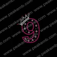 Wholesale Free Dhl Shipping 50Pcs/Lot Custom New Design Number Nine Rhinestone Bling Transfers For Shirts