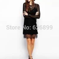 2014 Autumn Women Elegant Dress Translucent Two-Piece Set Dressing Black Long Sleeve O-Neck Lace Spliced  Dress BE30