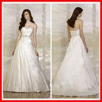 Sweetheart Neckline Elegant Bodice Wedding Gown Satin Bridal Dress Traditional Chapel Train For Weddings Crystals
