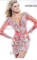 Popular Sheath V Neck All-over Beads Mini Short Long Sleeves Cocktail Dresses Party Dresses