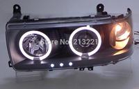 Prado 4500 Land cruiser LC80 FJ80 LED Daytime light Dual-Rim Angel Eyes Projector lens Headlight Fog lamp 1991-1997 Black