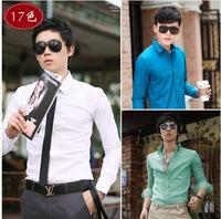 Man Spring 2014 Summer Men Long Sleeve Lapel Plaid Shirts Men's Casual Slim Fit Camisa Social Shirts Plus Size Male Shirt XXXL