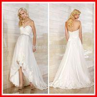 Sweetheart Neckline Lace Fashion Forward Bride Dress Gorgeous High-low Hemline Wedding Dresses With Band
