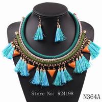 2014 women necklace fashion yarn tassel pendant chunky choker rope chain set necklace earrings elegant statement jewelry