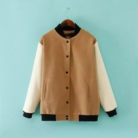 2014 new women casual cotton blends khaki standing collar single breasted baseball jackets 433518