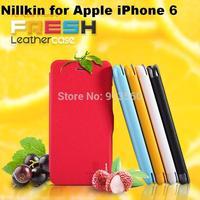 Free shipping 5pcs original Nillkin Flip leather case Fresh series for Apple iPhone 6 (4.7 inch)  +retail box