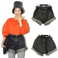 2014 New Fashion Spring Summer Women Girl High Waisted Oversize Loose Crimping Boyfriend Jeans Denim Shorts Pants Black