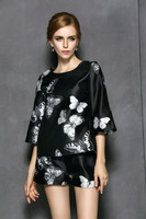 Hot sell 2014 Butterfly printed autumn casual dress sexy club wear women clothes three quarter Sleeve