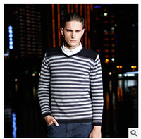 2014 Autumn And Winter Fashion Men's V-Neck Sweater 100% Cotton Casual Sweater Knitted Stripe Men Pullovers Sweater