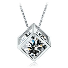 WSHT:Wholesale Free Shipping 925 Sterling Silver Pendant Necklace High Quality Crystal Cube Shape Woman Jewelry