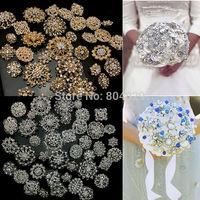 Wholesale -100Pcs x Rhinestone crystal brooches silver gold colours brooch pins wedding bridal decor