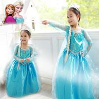 Retail Free Shipping Frozen Dress 2-7 Age Kids Vestidos Infantis Snow Baby Girls Dress High Quality Dresses Frozen Costume