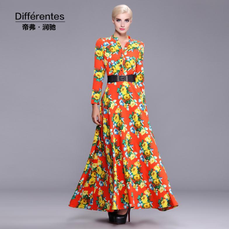 2014 autumn and winter women's dress Emperor Frederick Runchi long-sleeved dress stretch satin print dress suit(China (Mainland))
