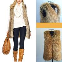 2014 NEW Womens Winter Fashion Thick Warm Faux Fur Long Vest Sleeveless V neck Jacket Coat Waistcoat Plus Size S-XXXL
