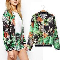 2014 New Arrival Autumn Women Casual Jungle Print Short Jacket Fashion Zip Up Cardigans coat Top outerwear