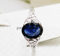 Sapphire ring Free shipping Natrual  and real Sapphire 925 sterling silver ,plate 18k white gold Blue gem For women #14090916