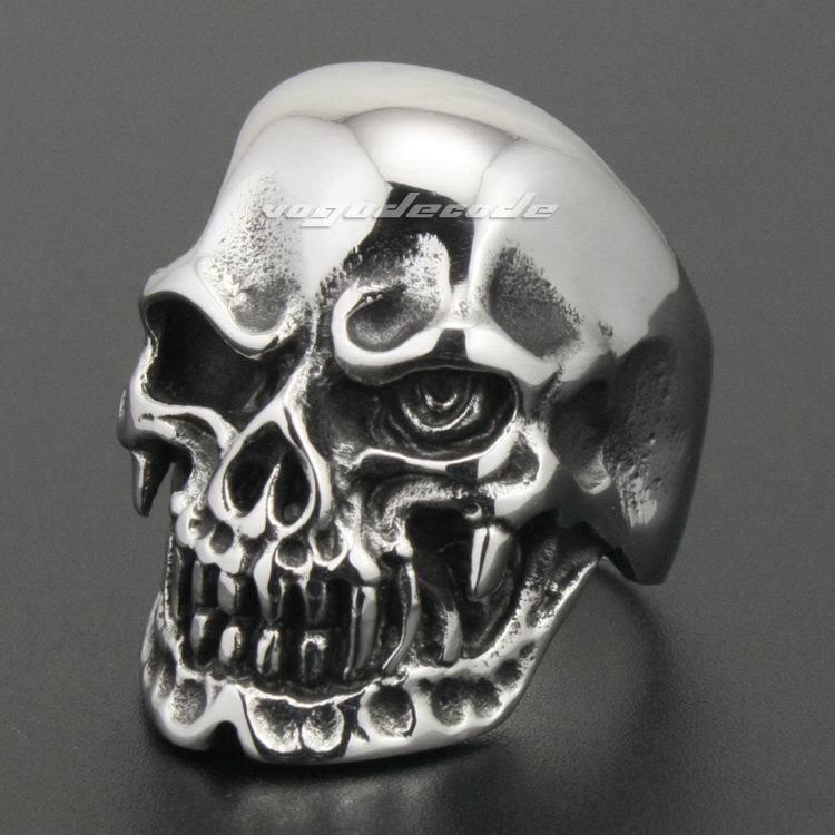 Cool 316L Stainless Steel Skull Mens Biker Ring 2W040 Biker Jewellery(China (Mainland))