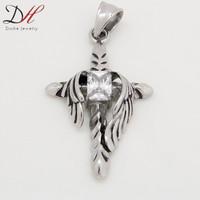 Top Amazing Silver Angel Wings Stainless Steel Jewelry Punk Biker Crystal Cross Steel Pendants for Men,PD0805