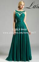 Deep V Neck Back New Elegant Long Chiffon Mother of the Bride Groom Lace Evening Dresses Green 2015 HM673