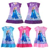 Retail Frozen Costume 4 Colors Fashion Elsa Costume Summer Girl Dress 2-7 Age Kids Clothes Dress Elsa Costume Frozen Party