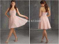 Layered Lignt Pink Chiffon Bridesmaid Dresses Fast Shipping Elegant Chiffon Short  Chiffon Sweetheart Dress 2014 New Hot Sale
