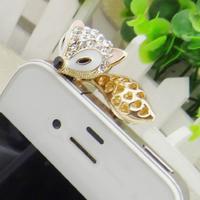 Big Brand Phone Crystal Fox Dust Plug Beautiful Rhinestone Hollow Out Tassel Cellphone Accessories SKP002