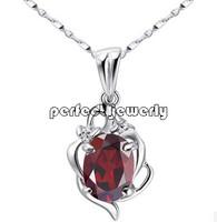 Garnet pendant Free shipping Necklace pendant Natural garnet 925 sterling silver plate 18k white gold For girls #14090917