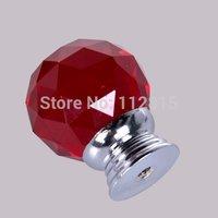 10*30mm Crystal Knobs Drawer Cabinet Handles & Screws (Red)