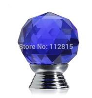 Crystal Glass blue Cupboard Door / Drawer Knobs  30mm Drawer Kitchen Chrome