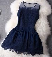 XY306 2014 Summer Dress Tank Slim Fashion Dresses  Lace Patchwork Women Dress Sleeveless