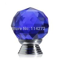 10 Pcs 30mm Glass blue Cabinet Knob Drawer Pull Handle Kitchen Door Wardrobe Hardware