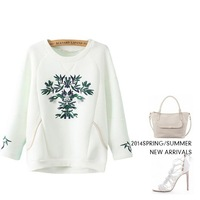 2014 winter new Embroidery printing loose pullovers sweatshirts fashion brand ladies jacket sweatershirt suits women coat gift