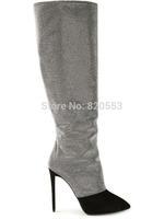 Hot Women Autumn Knee High  Boots High Heel Pointed Toe Patchwork  Rhinestones Boots botas femininas With Zipper