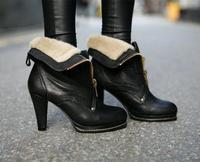 2014 Autumn Winter New Women's Fashion Short High-heeled Boots Occident Retro fuax Leather Fur 10 cm Block Heel Shoes hn190-23