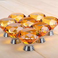 diamond amber Crystal Glass Door Knobs Kitchen Cabinet Drawer Handle New