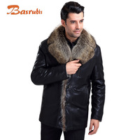 2014 Luxury Men Leather Jackets And Coats Fur Lined Leather Jacket Mens 5XL.6XL Winter Warm Sheepskin Coat Casual-Jacket