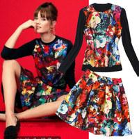 Free Shipping 2014 printing long sleeve sweatshirt and Puff pleated skirt women fashion twinset