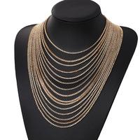 2014 European style exaggeration retro multi- tassel  necklace  wholesale 12 pcs /lot