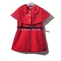 2014 New girls dress Sleeveless dress+ Cape coat fashion England style two-piece spring/autumn dress clothing 1pcs free shipping