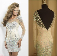 2014 Sexy Backless Jewel Neckline Beige Short Mini Prom Dresses Cocktail Dresses Party Dresses with Long Sleeves Crystals Beaded